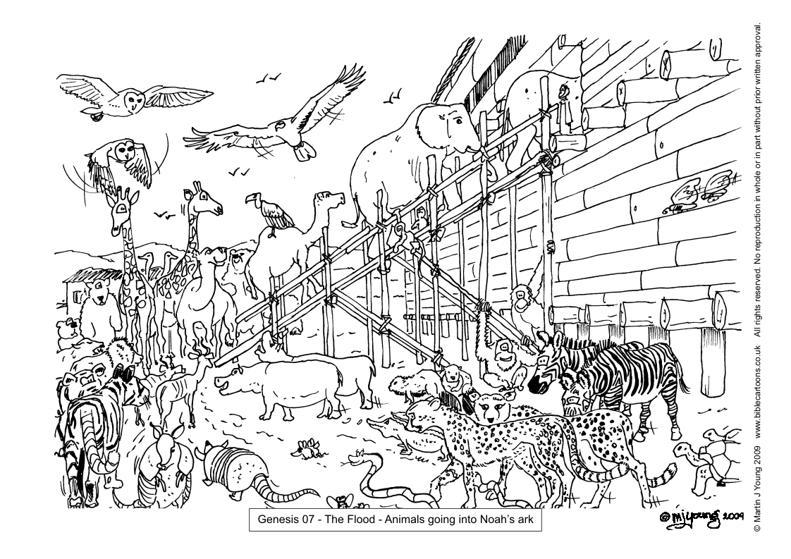 Bible cartoons colouring sheets index for Noah ark coloring page