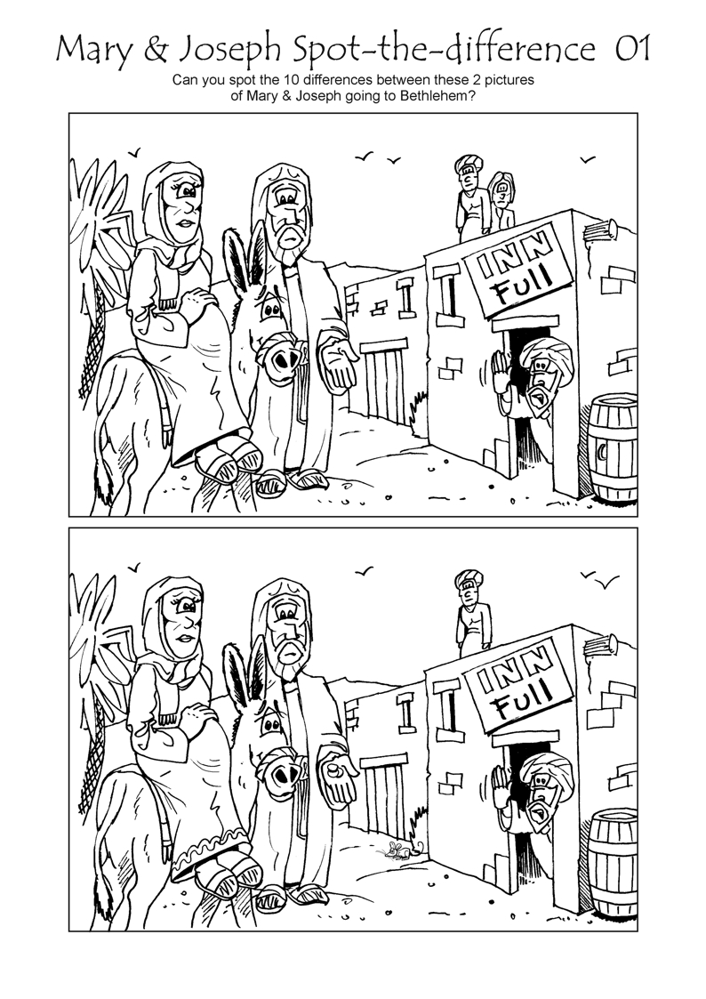 Bible Cartoons Nativity Activity Sheets Index