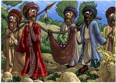 Bible Cartoons Deuteronomy 01  Scene 05  Spies in Eshcol