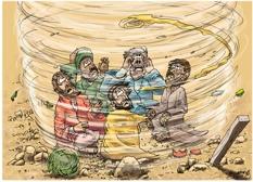Bible Cartoons: Job 38 - Job and the whirlwind