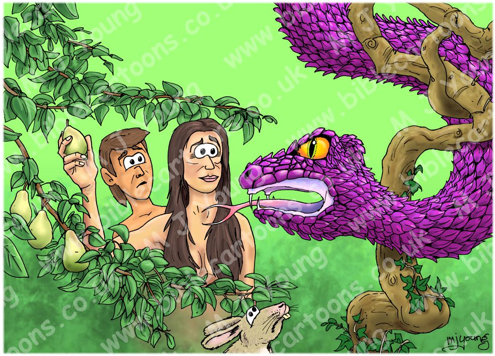 Genesis 03 - The Fall of Man - Scene 02 - Serpent seduction (Purple version) 980x706px col
