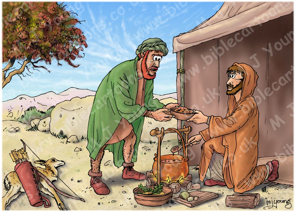 Genesis 25 - Esau sells his birthright - Scene 02 - Costly stew 980x706px col