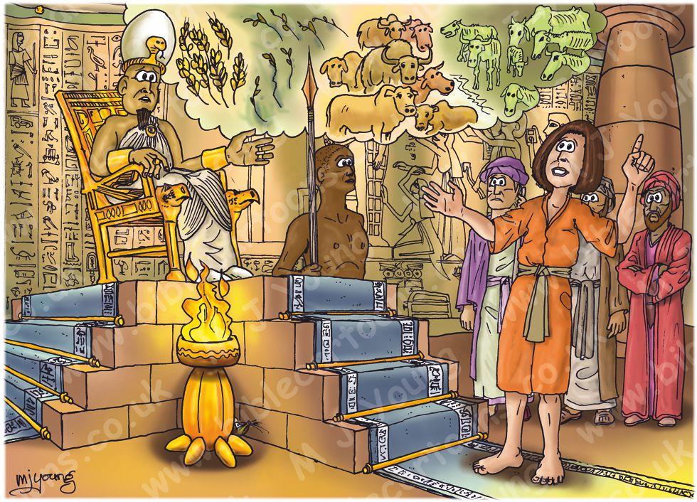 Genesis 41 - Pharaoh's dreams - Scene 05 - Joseph interprets Pharaoh's dreams 980x706px col