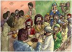 Genesis 43 - Joseph's feast - Scene 05 - Benjamin's portion (Colour version) 980x706px col