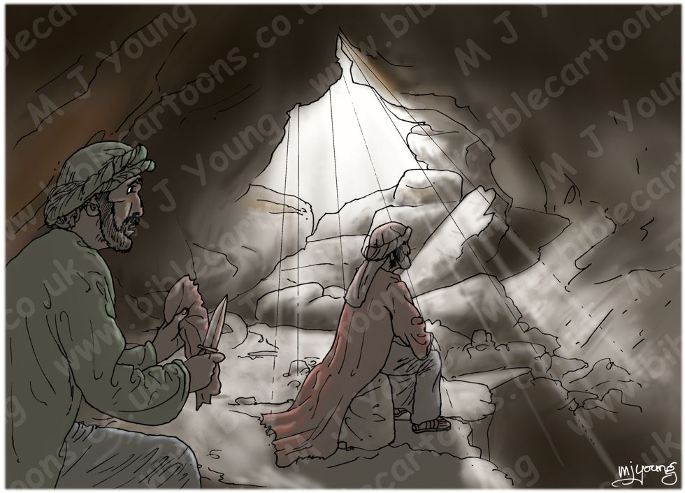 1 Samuel 24 - David spares Saul's life - Scene 02 - Robe cut (Dark version)  980x706px col