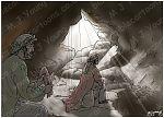 1 Samuel 24 - David spares Saul's life - Scene 02 - Robe cut (Dark version)  980x706px col