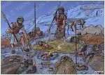 1 Samuel 26 - David spares Saul again - Scene 03 - David takes spear (Dark version) 980x706px col