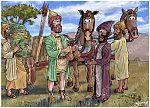 2 Kings 05 - Naaman's leprosy healed - Scene 08 - Gehazi's scheme 980x706px col