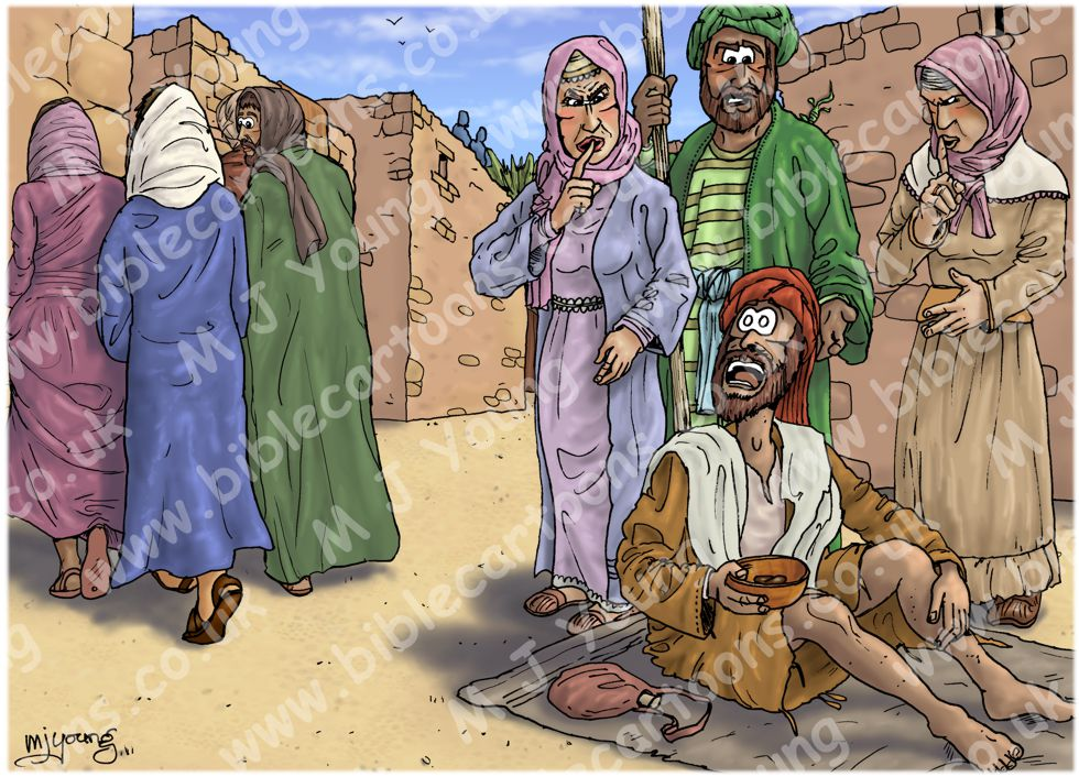 Mark 10 - Jesus heals blind Bartimaeus - Scene 01 - Shouting 980x706px col