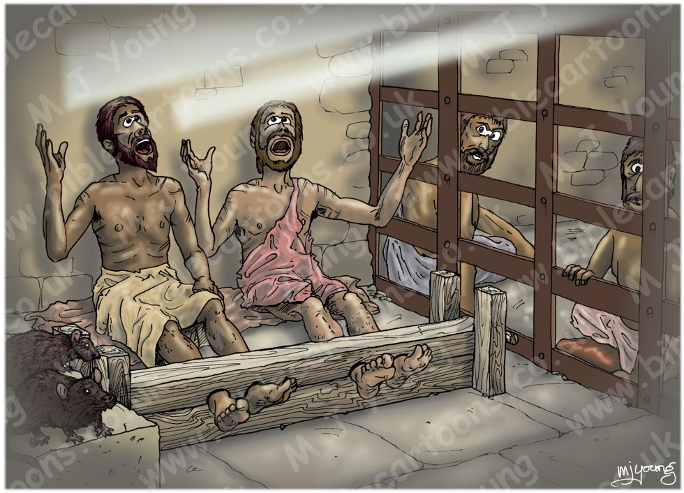 Acts 16 - Paul and Silas in prison - Scene 04 - Singing 980x706px col