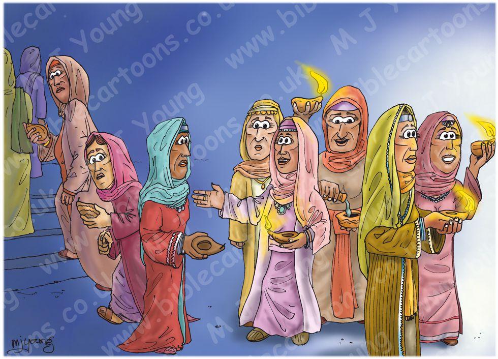 Matthew 25 - Parable of 10 virgins - Scene 02 - Midnight 980x706px col