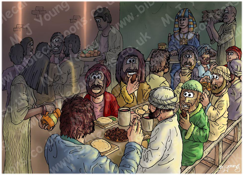 Genesis 43 - Brothers return to Egypt - Scene 10 - Benjamin's portion (Shadow version) 980x706px col