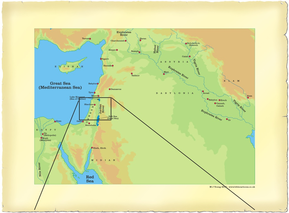 Link drawing from large scale Middle East map to small scale Central Israel map