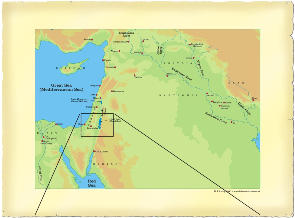 Link drawing from large scale Middle East map to small scale Southern Israel map