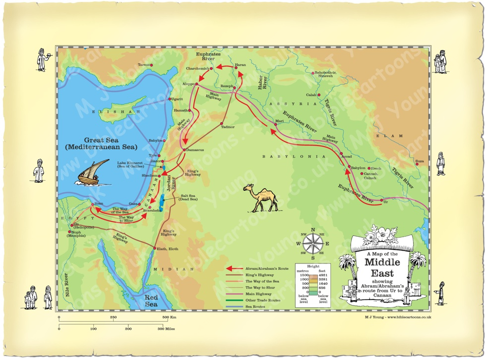 Map Middle East Abram route from Ur to Canaan