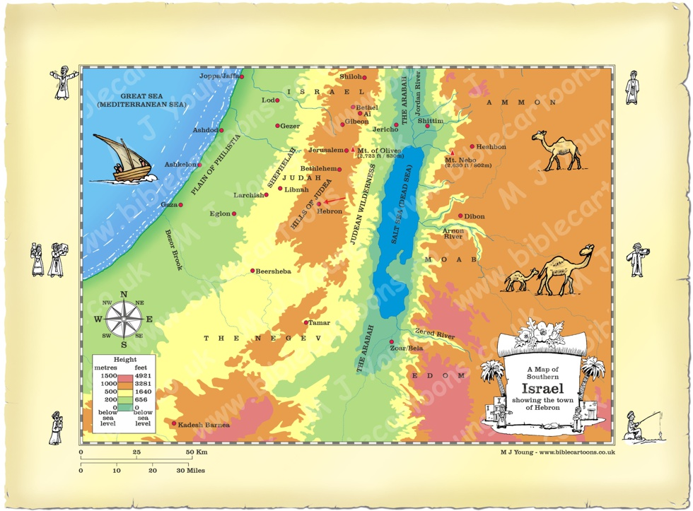 Bible Cartoons Map of Southern Israel showing Hebron
