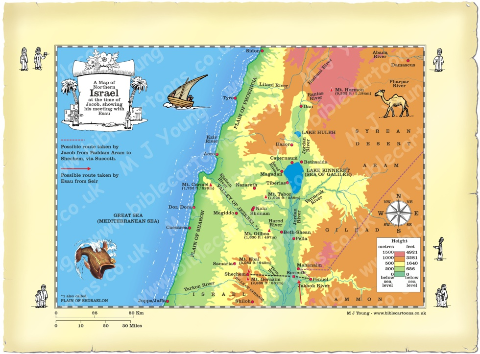 Map Northern Israel Genesis 33 Jacob meets Esau
