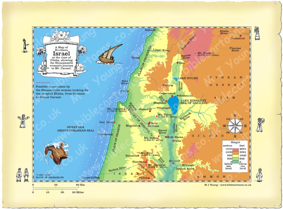 Map Northern Israel Shunam to Mt. Carmel route