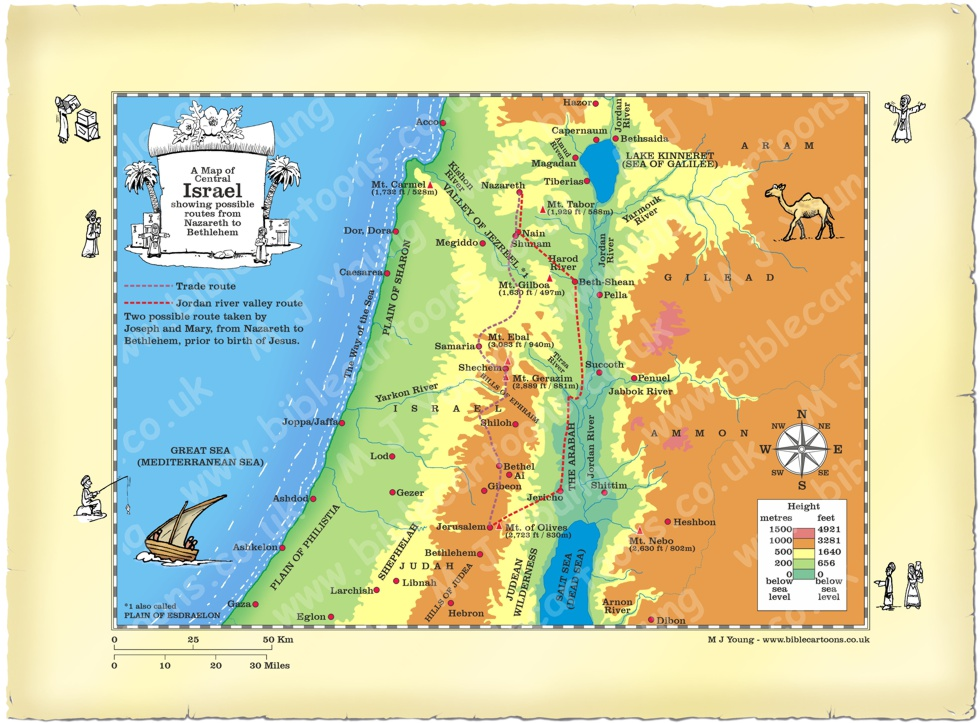Bible cartoons map of central israel showing nativity routes map central israel nativity routes gumiabroncs Image collections