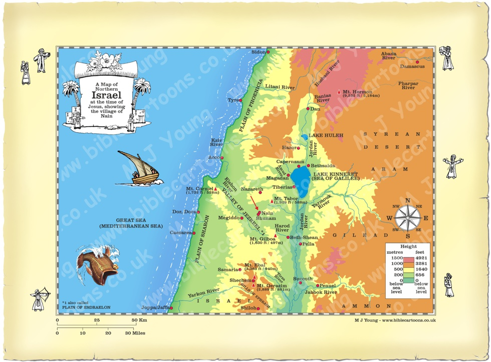 Map Of Nain Bible Cartoons: Map of Northern Israel showing Nain