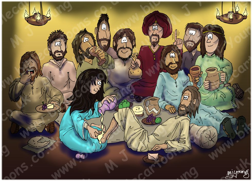 jesus anointed at bethany coloring page - bible cartoons john 12 jesus anointed at bethany