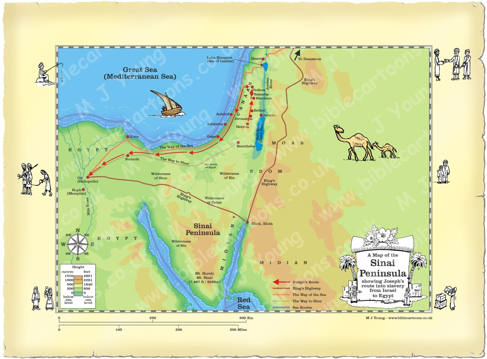 Map of Sinai showing Joseph's route into slavery from Israel to Egypt