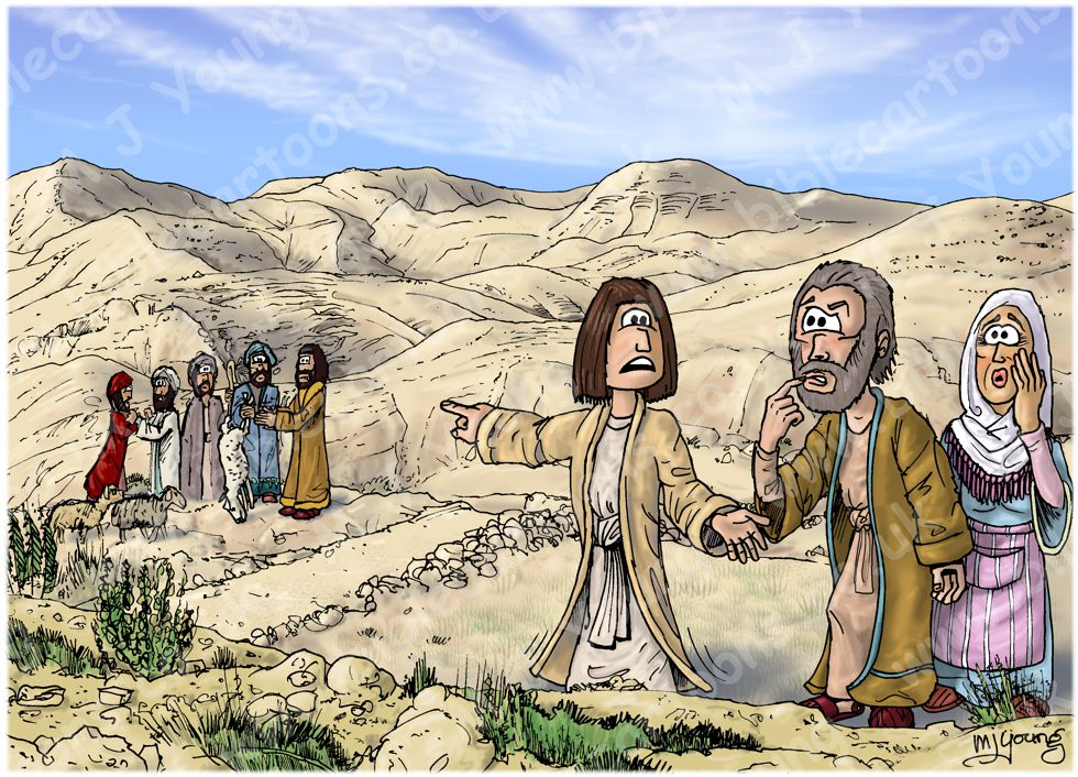 Genesis 37 - Joseph's Dreams - Scene 01 - Joseph reports his brothers 980x706px col