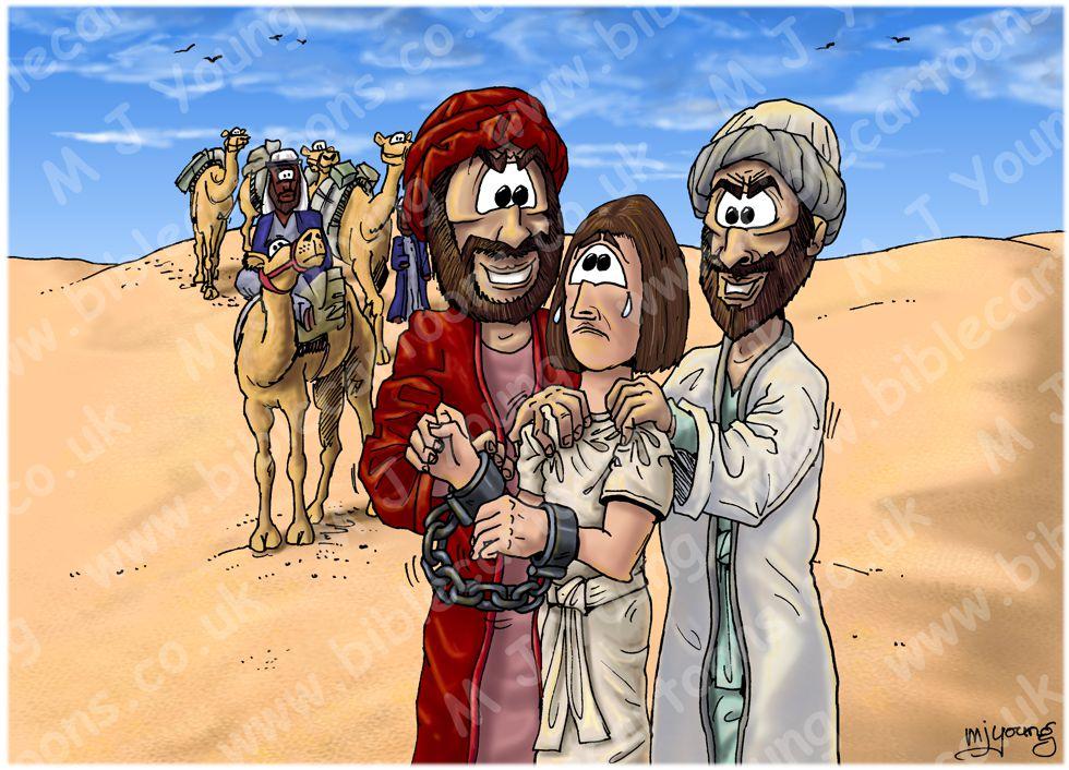 Genesis 37 - Joseph sold into slavery - Scene 04 - Joseph Sold (no skull) 980x706px col