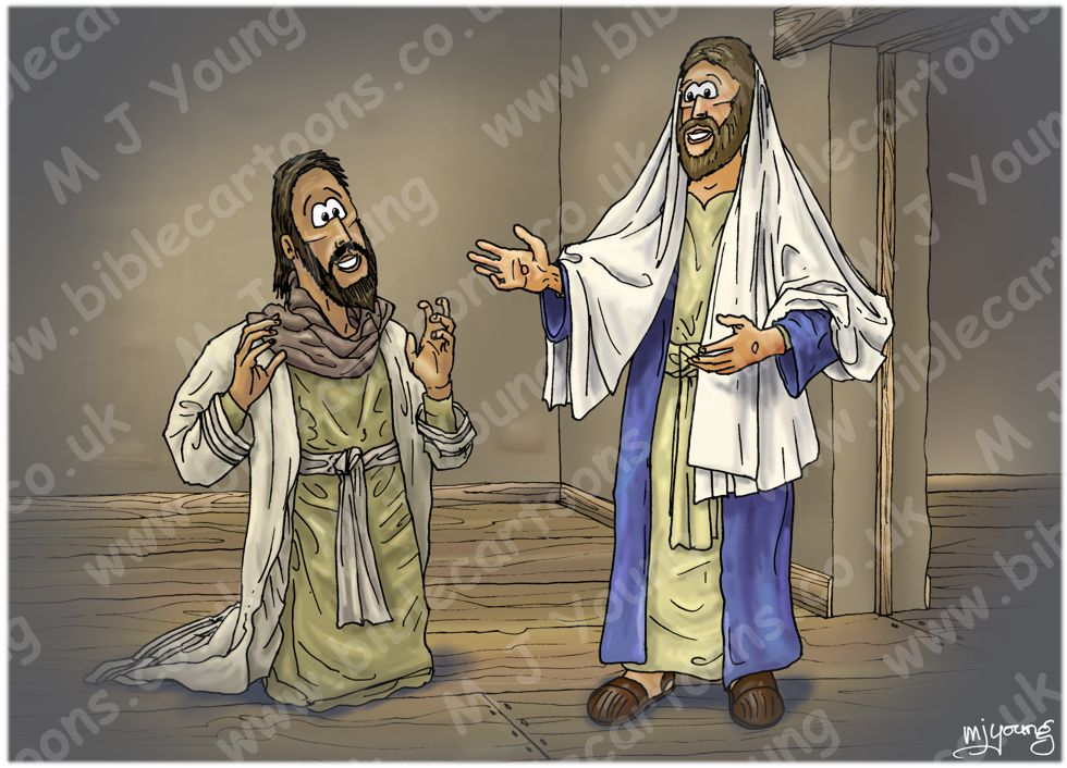 John 20 - Jesus appears to Thomas - Scene 02 - Thomas believes (Version 02) 980x706px col