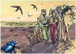 Exodus 02 - Moses flees to Midian - Scene 01 - Leaving home (Yellow sky) 980x706px col