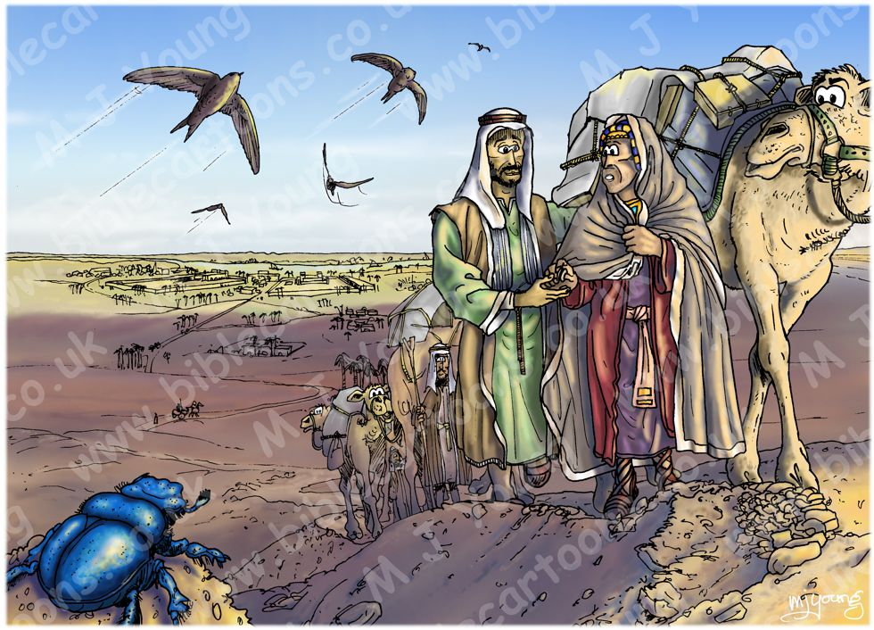 Exodus 02 - Moses flees to Midian - Scene 01 - Leaving home (Blue sky) 980x706px col