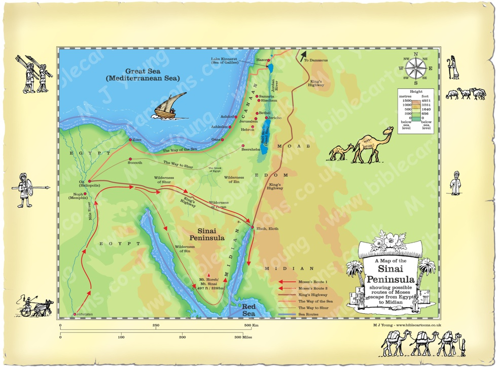 Bible Cartoons: Map of Sinai showing journey of Moses from ...
