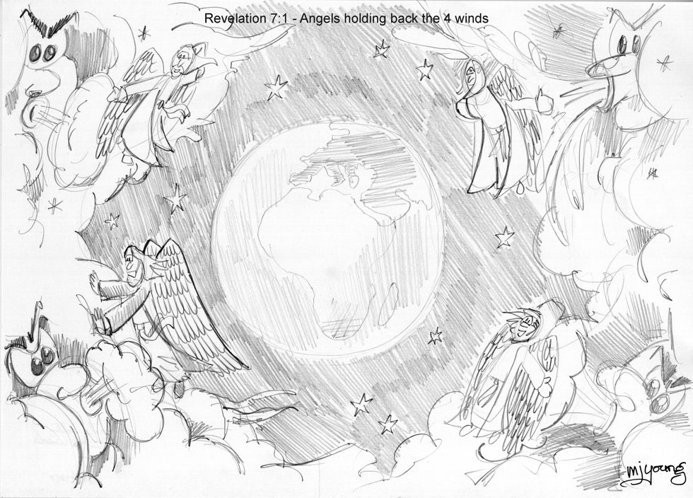 Revelation 07 - 144,000 sealed - Scene 01 - Four angels hold back the four winds - GREYSCALE sketch