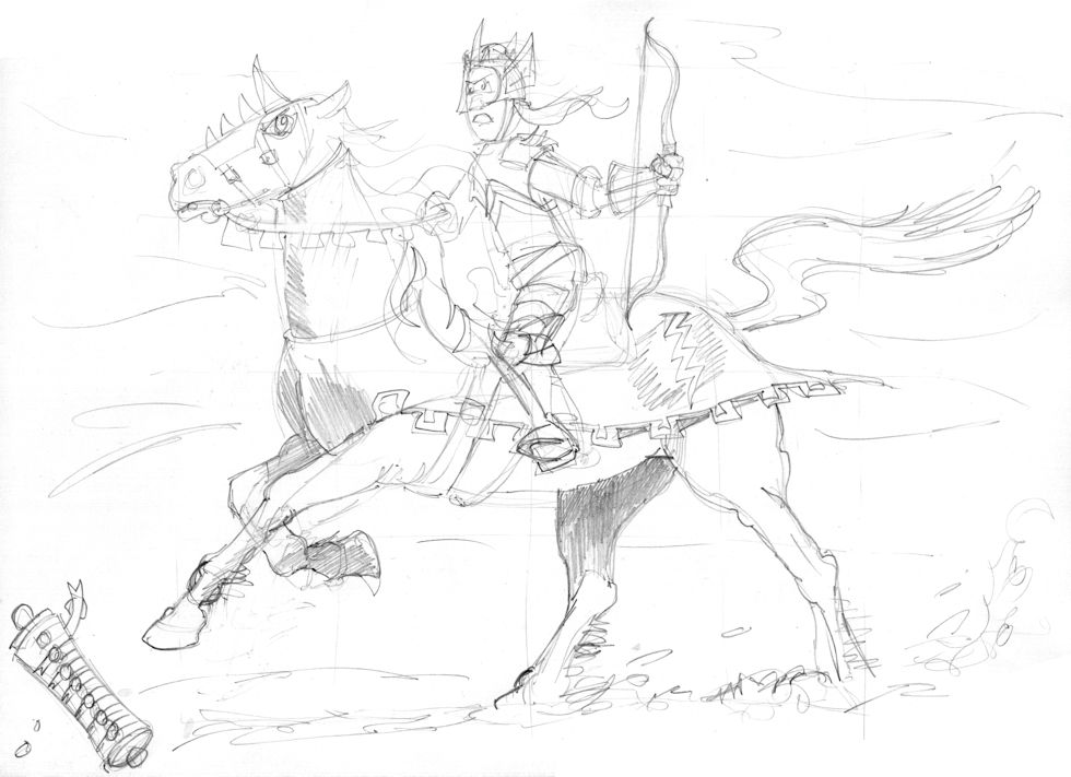 Revelation 06 - The Scroll seals - Scene 01 - First seal-White rider - GREYSCALE sketch
