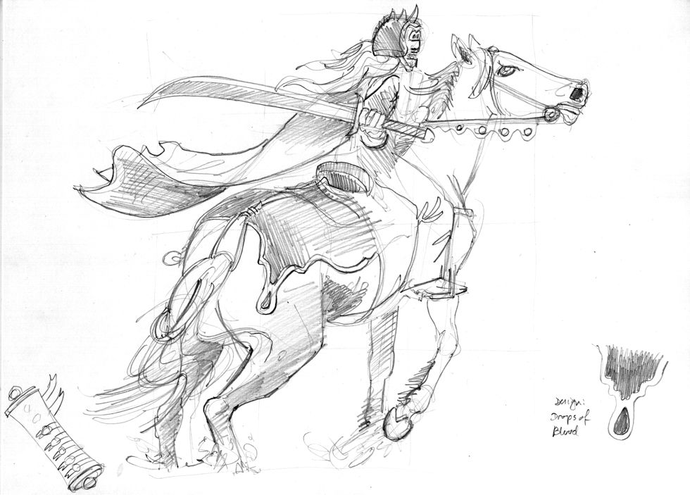 Revelation 06 - The Scroll seals - Scene 01 - Second seal-Red rider - GREYSCALE sketch