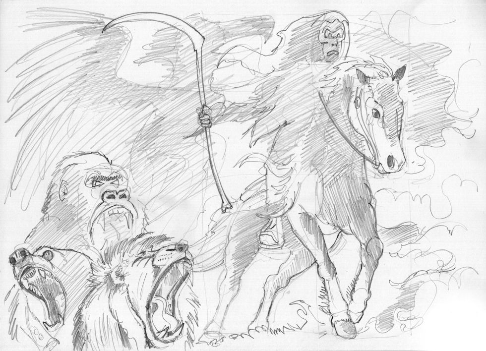 Revelation 06 - The Scroll seals - Scene 01 - Fourth seal-Pale rider - GREYSCALE sketch