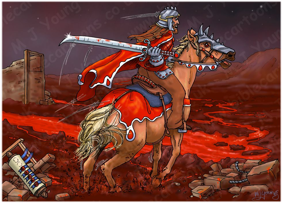 Revelation 06 - The Scroll seals - Scene 02 - Second seal Red rider (with blood) 980x706px col