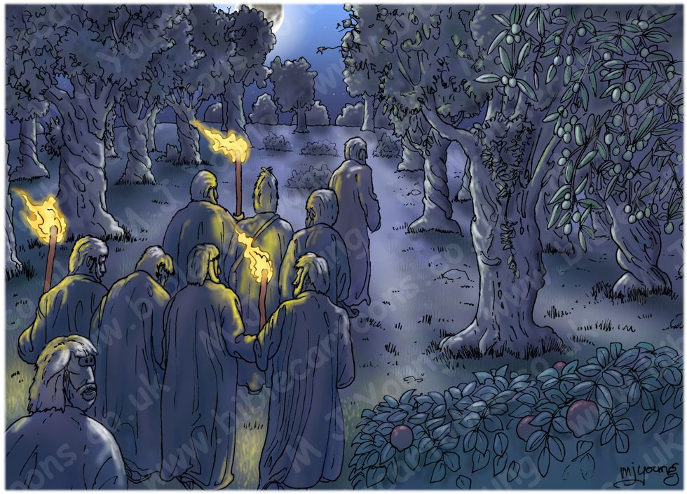 John 18 - Jesus betrayed and arrested - Scene 01 - Olive grove 980x706px col