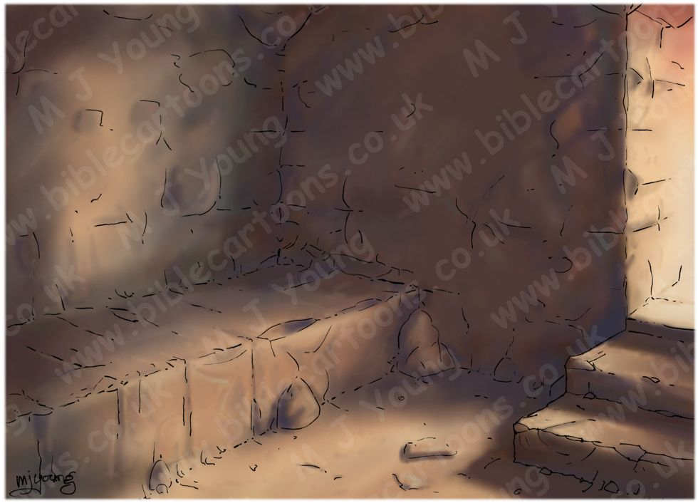 Mark 15 - Burial of Jesus - Scene 04 - Laid in the tomb (Dark version) - Interior 980x706px col