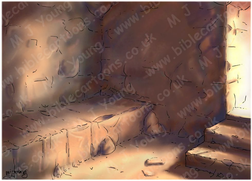 Mark 15 - Burial of Jesus - Scene 04 - Laid in the tomb (Light version) - Interior 980x706px col