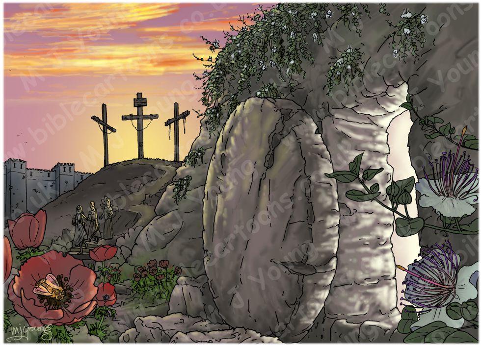 John 20 - The Resurrection - Scene 01 - Stone removed (Version 02) 980x706px col