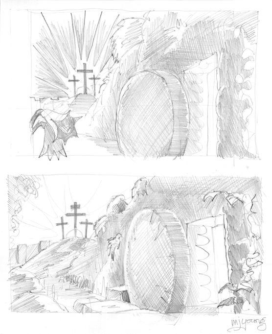 John 20 - The Resurrection - Scene 01 - Stone removed pencil greyscale