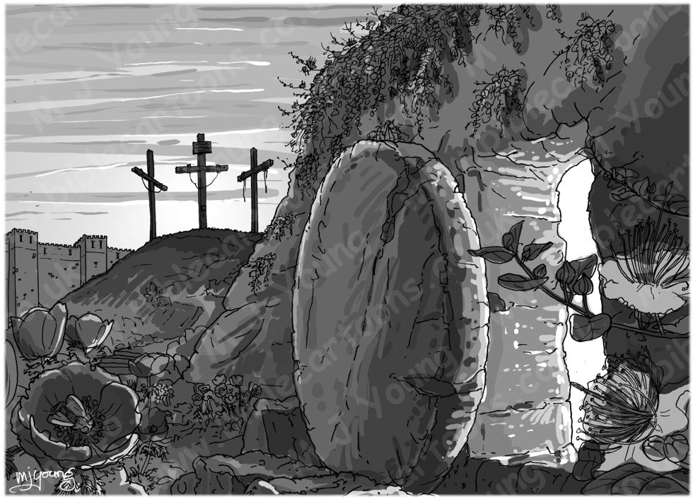 John 20 - The Resurrection - Scene 01 - Stone removed 980x706px greyscale