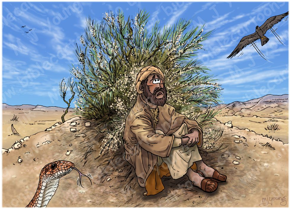 1 Kings 19 - Elijah flees to Horeb - Scene 02 - Broom desperation 980x706px col.jpg