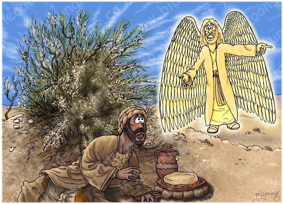 1 Kings 19 - Elijah flees to Horeb - Scene 03 - Angel food 980x706px.jpg