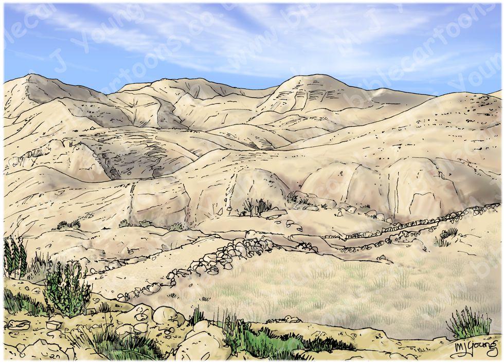 Genesis 37 - Joseph's Dreams - Scene 01 - Joseph reports his brothers - Landscape 980x706px col.jpg