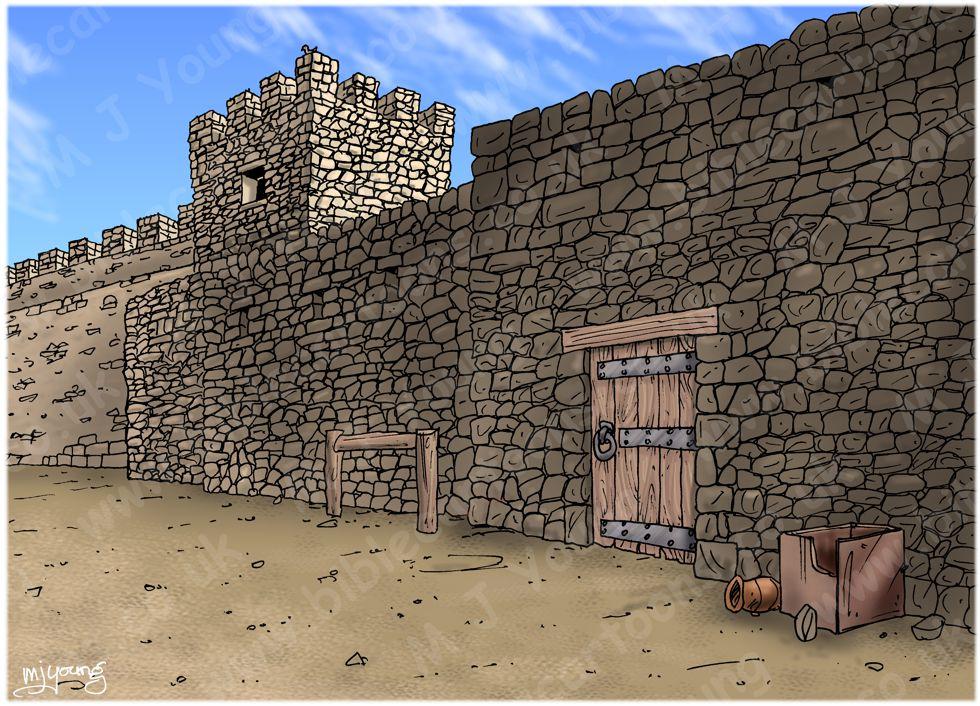 Mark 15 - Trial of Jesus - Scene 07 - Jesus flogged - Townscape 980x706px col.jpg