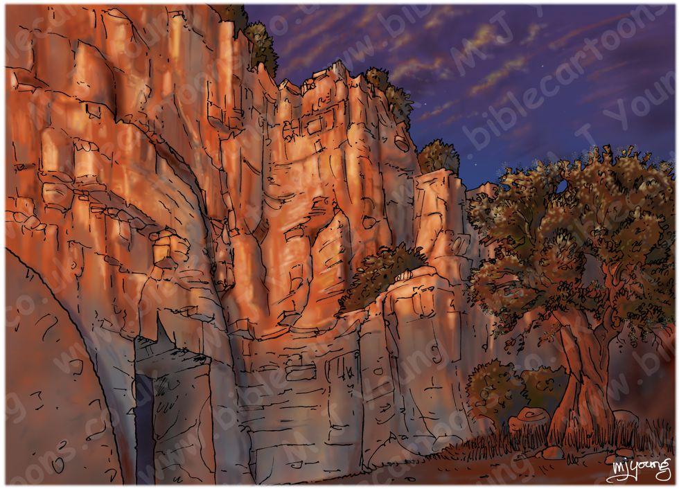 Mark 15 - Burial of Jesus - Scene 03 - Into the tomb (Sunset version) - Landscape 980x706px col.jpg