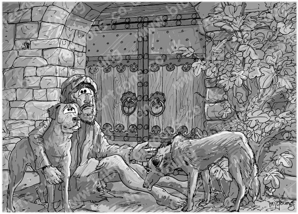 Luke 16 - Rich man and Lazarus - Scene 02 - Poverty - Greyscale 980x706px col.jpg