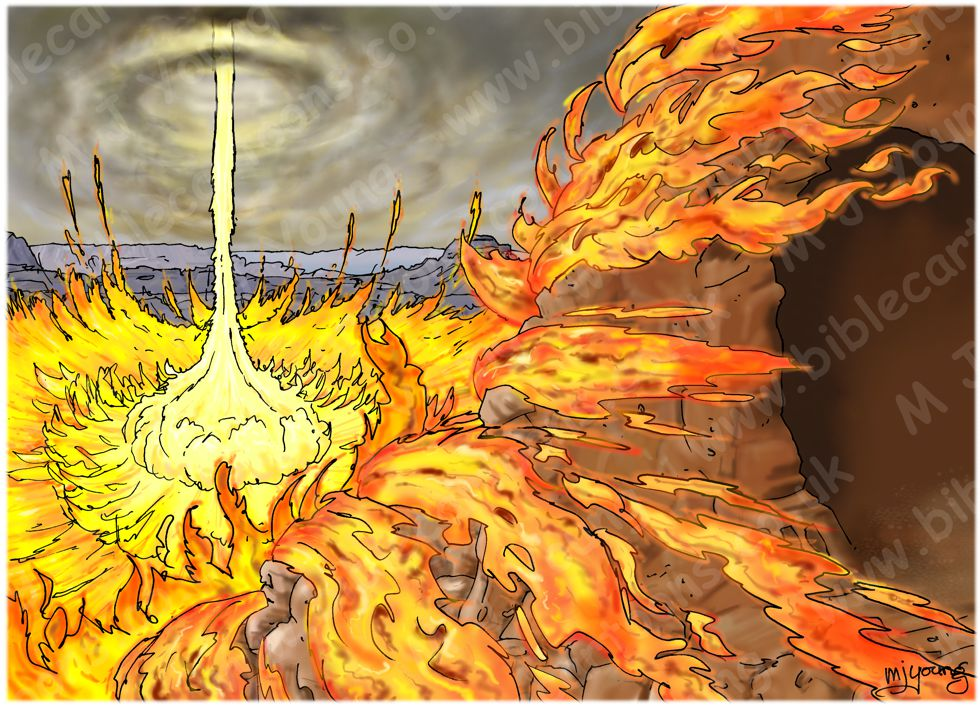 1 Kings 19 - The Lord appears to Elijah at Horeb - Scene 03 - Fire - Landscape 980x706px col.jpg